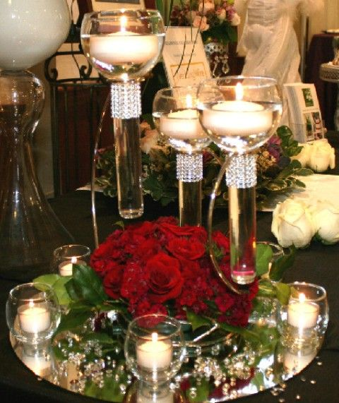 Flowers With Floating Candle Centerpieces: Silverplate And Glass Triple Floating Candle Holders