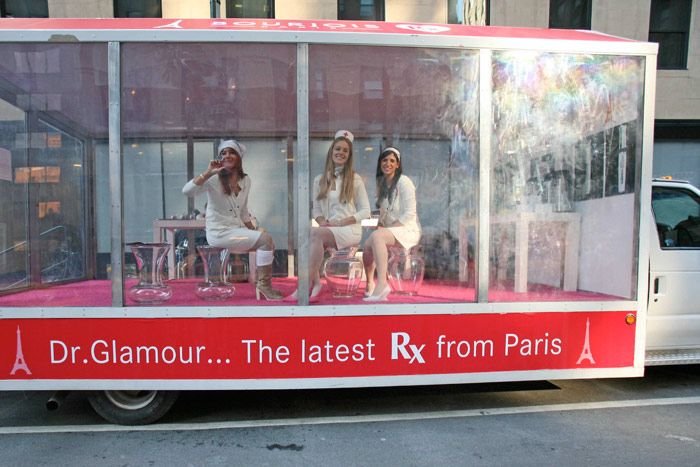 In 2007, Bourjois Paris spread the word about its new Docteur Glamour line by creating a beauty ambulance of sorts. A vehicle with glass sides served as the setting for prearranged appointments with beauty editors outside the offices of several large magazine publishing companies.