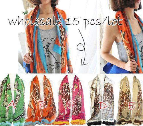 15 pcs wholesale Giraffe printing scarf fashion ladies square beach shawl