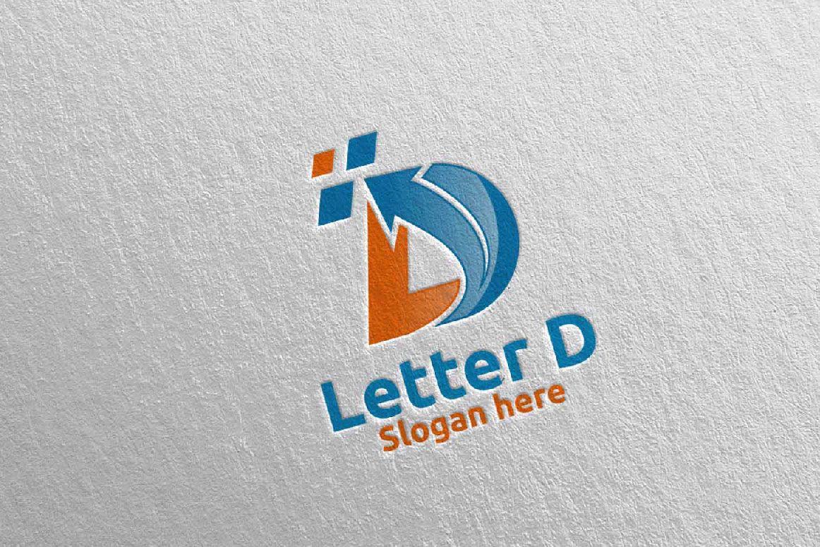 Digital Letter D Logo Design 1 475977 Logos Design Bundles Lettering Logo Design Letter D