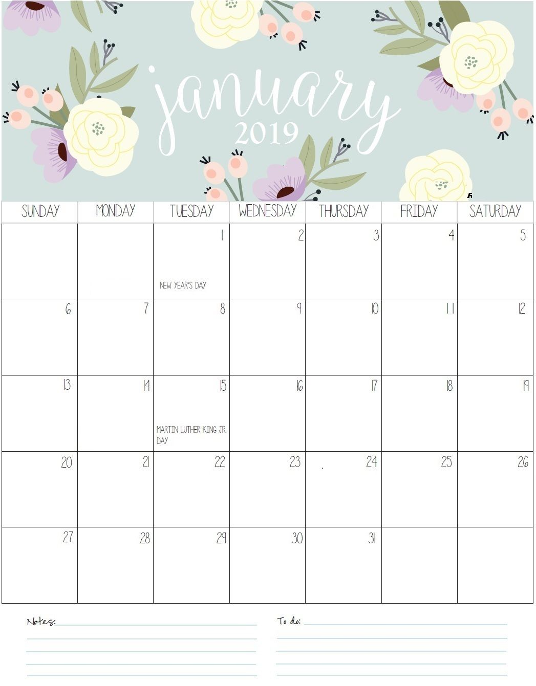 Printable Cute Canada Australia UK January 2019 Calendar Templates Download