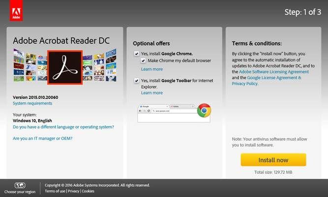 Acrobat Reader download page Hosting company, Adobe