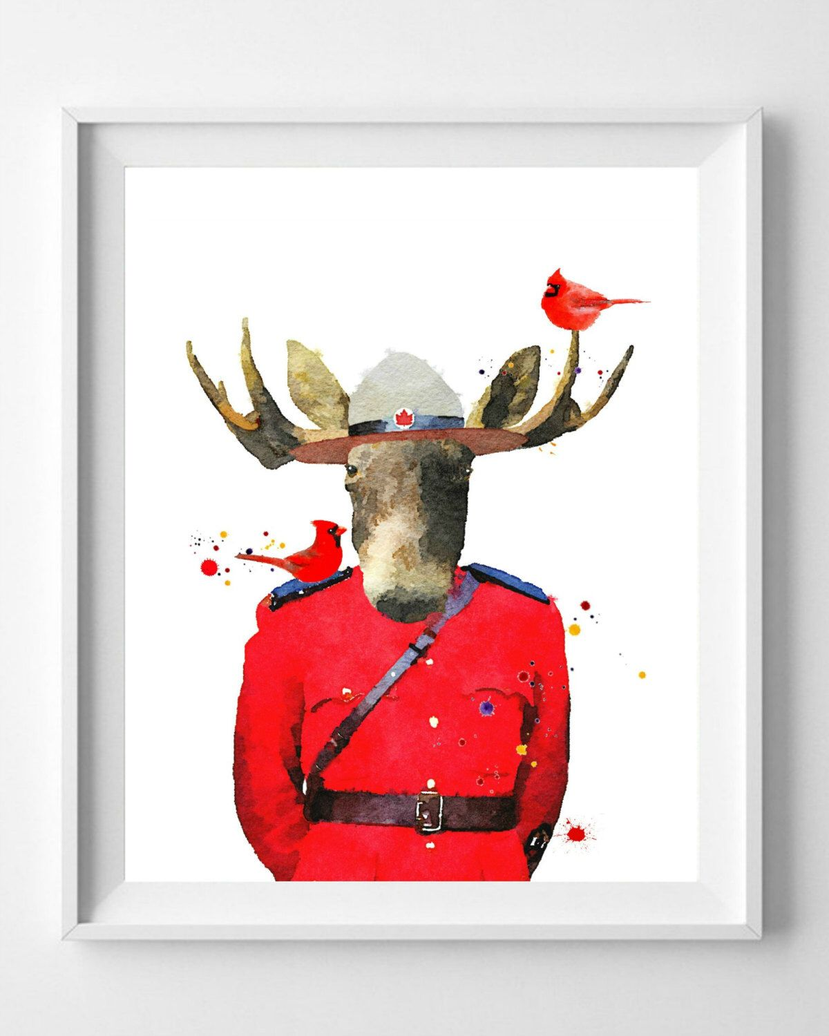 mountie moose print canada print painting watercolor art pic no