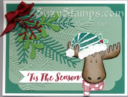 Stampin' Up! Cards - 2016-11 Class - Christmas Pines & Jolly Friends Stamp Sets, Pretty Pines Thinlits Dies, Jolly Hat Builder Punch and Pine Bough Embossing Folder