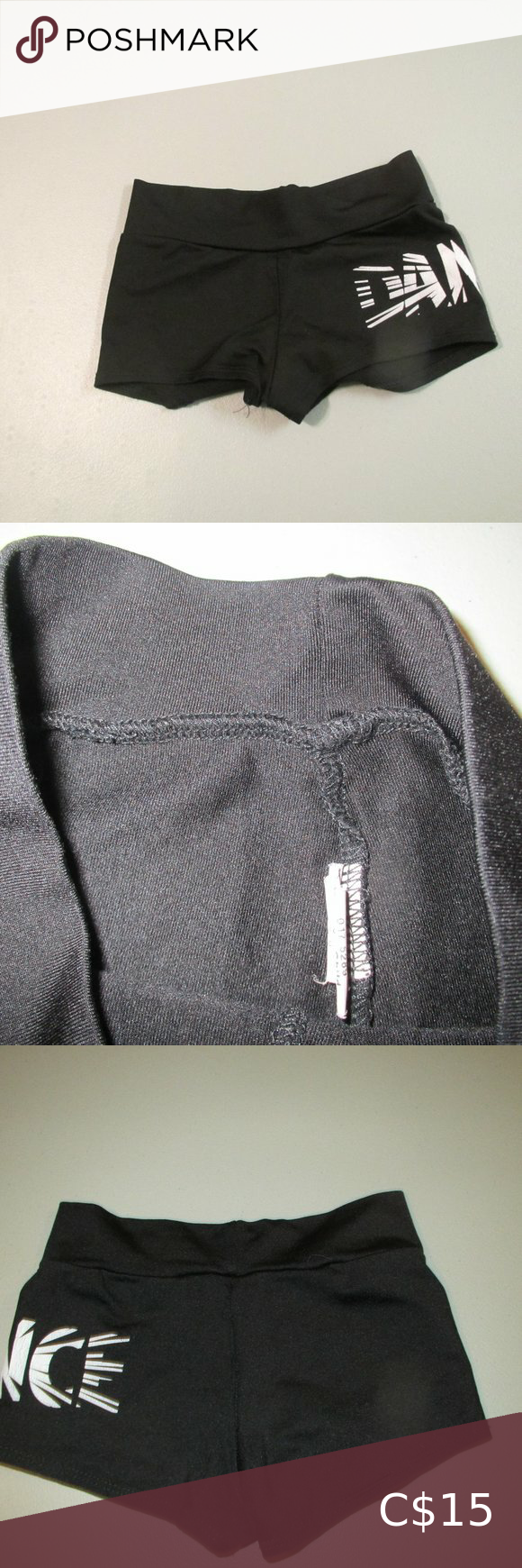 Black Motion Wear Dance Shorts Size 12-14