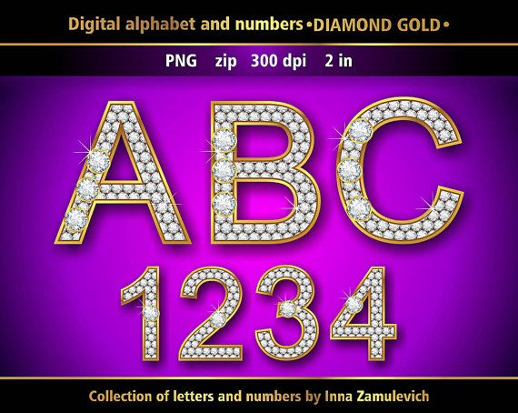 Diamond And Gold Alphabet And Numbers Digital Png Clipart Etsy Alphabet And Numbers Digital Alphabet Alphabet