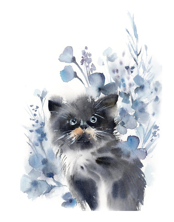 Kitten Fine Art Print Kitten And Blue Floral Watercolor Painting