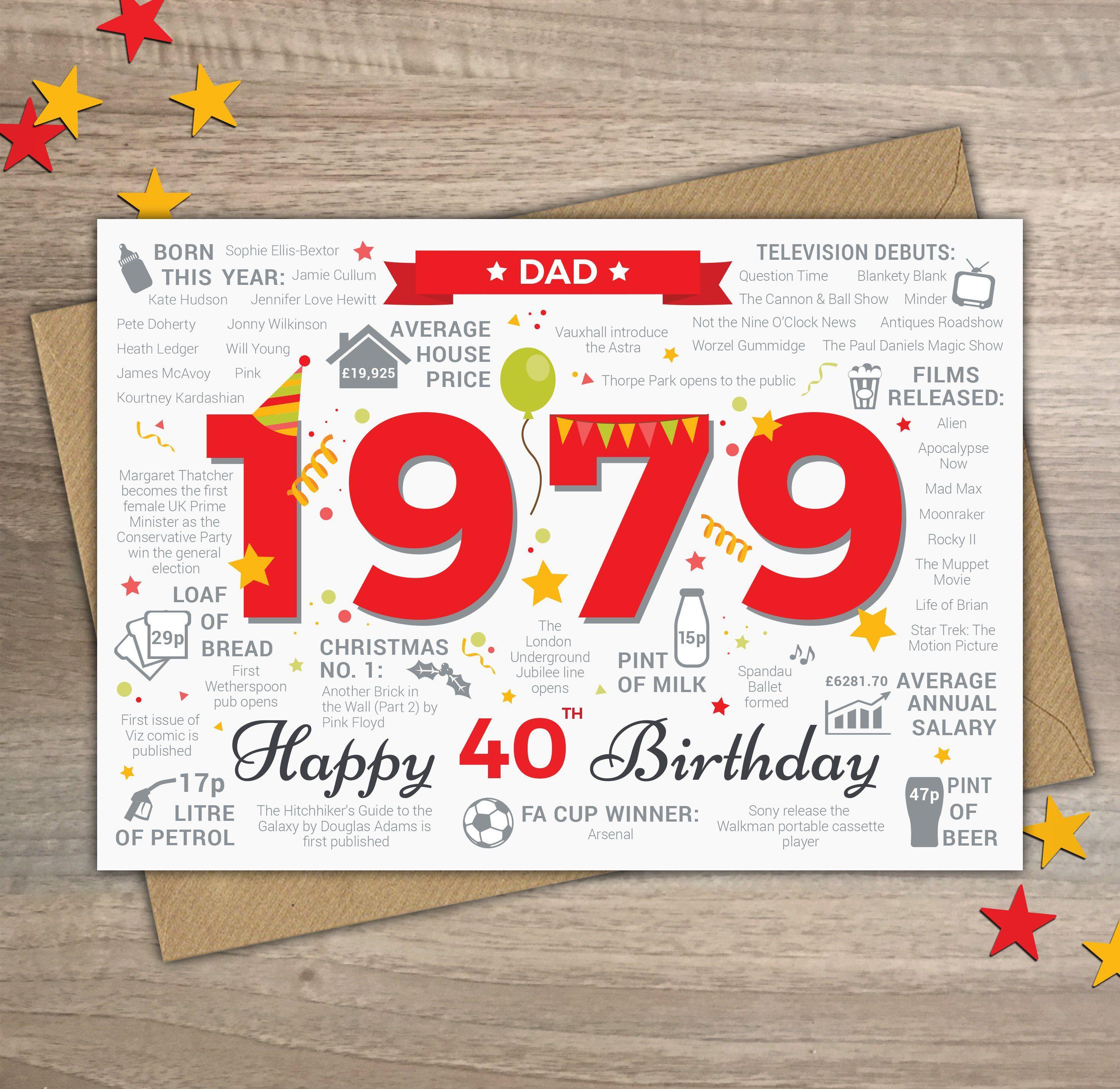 Happy 40th Birthday Dad Greetings Card Born In 1979 Year Of Etsy Happy 40th Birthday Happy 50th Birthday Happy 80th Birthday