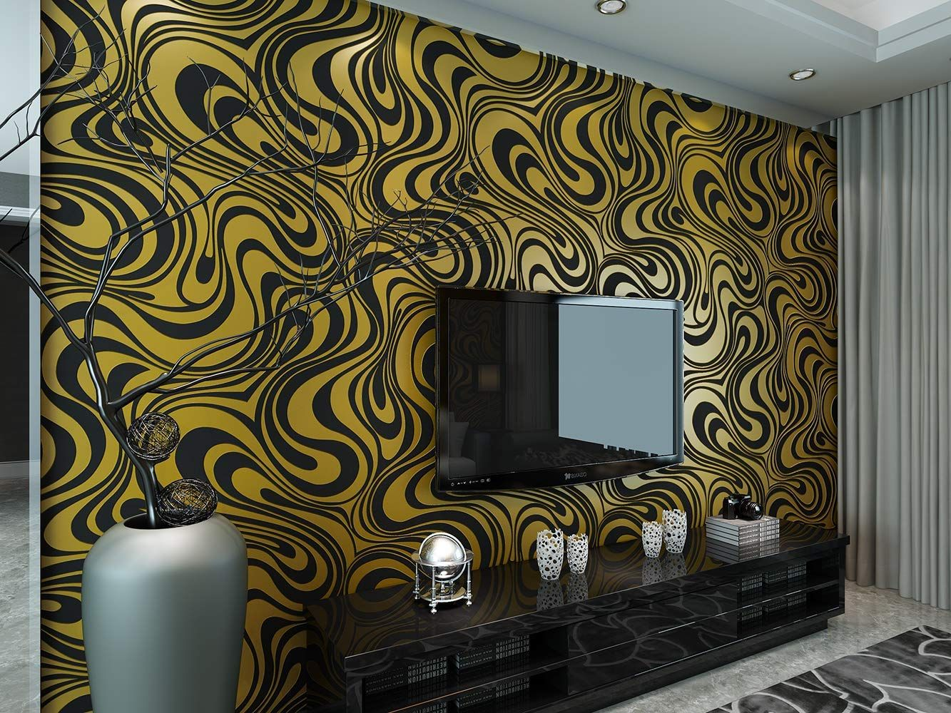 Ketian Modern Luxury 3d Abstract Curve Wallpaper Non Woven Flocking Strips For Living Room Bedroom Wallpaper Roll 0 7m 2 29 W X 8 4m 27 56 L 5 88 Stue