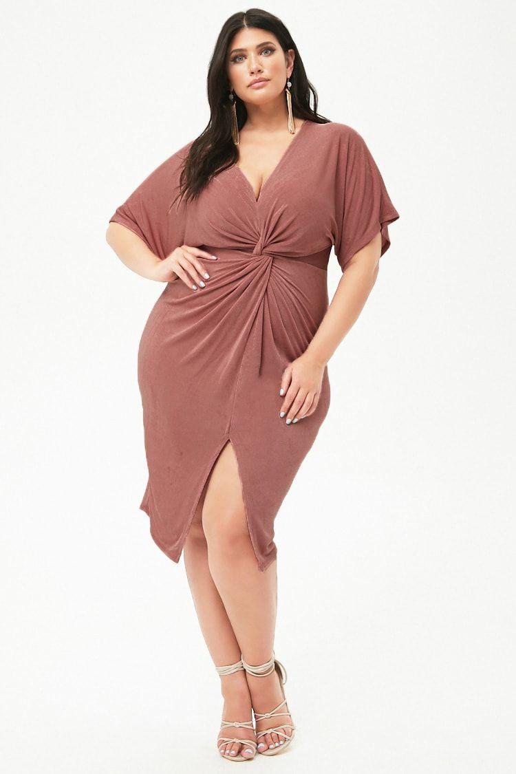 41fcd57be0 Plus Size Metallic Twist-Front Dress in 2018