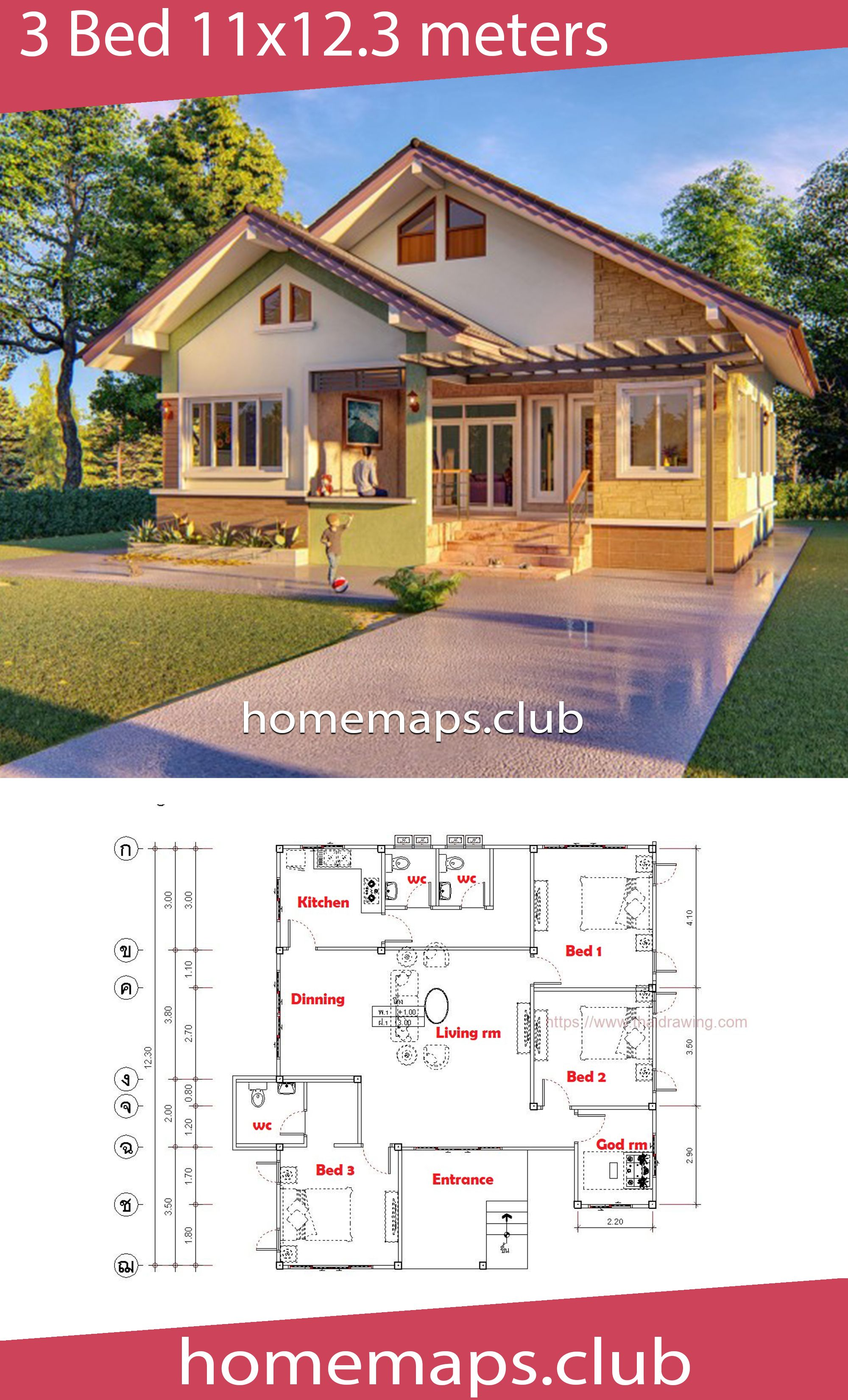 House Design 11x12 3 With 3 Bedrooms Home Maps House Design House House Map