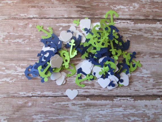 Anchor Heart Confetti  Weddings Anchors Navy by MoosesCreations