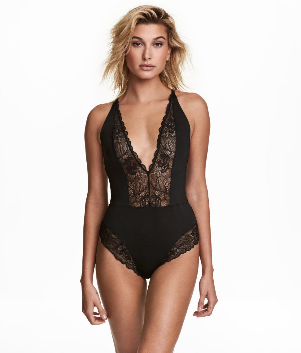 Bodysuit in microfiber and lace with a low-cut V-neck at front and narrow cc07df6ac