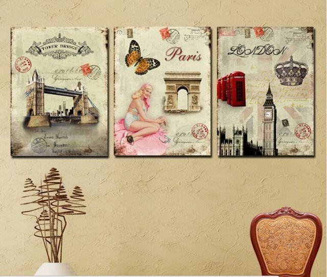 Online Shop 3 Panel Wall Art Picture Europe Retro Decorative ...