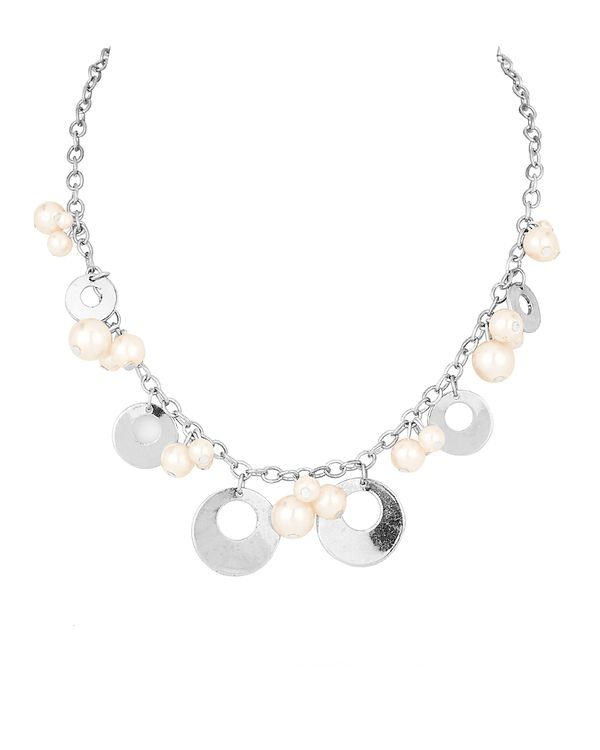 Necklace With Metallic Rings, Pearls