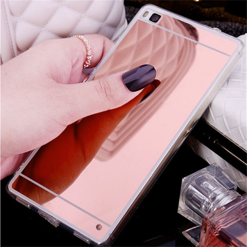 Luxury Mirror Soft Case For Huawei P8 lite Case Fashion TPU Frame ...