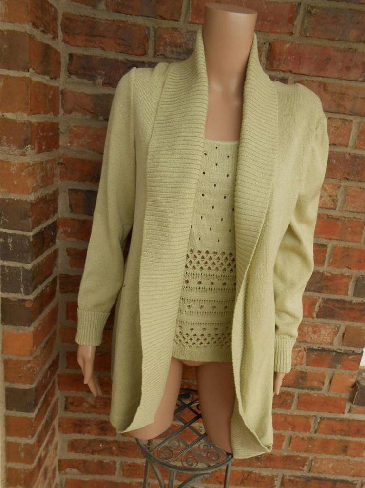 0b61705061773 ST JOHN SPORT Tunic Sweater Twin Set M Wool Rayon Draped Cardigan Tank Top  Green  StJohn  Twinset
