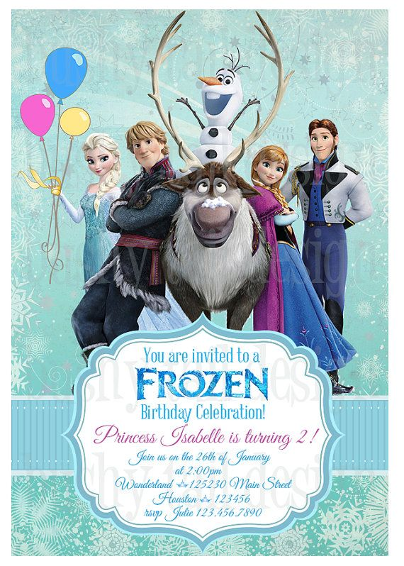 Disney frozen birthday invitation pinterest disney frozen disney frozen birthday invitation por bushytaildesigns en etsy stopboris Images