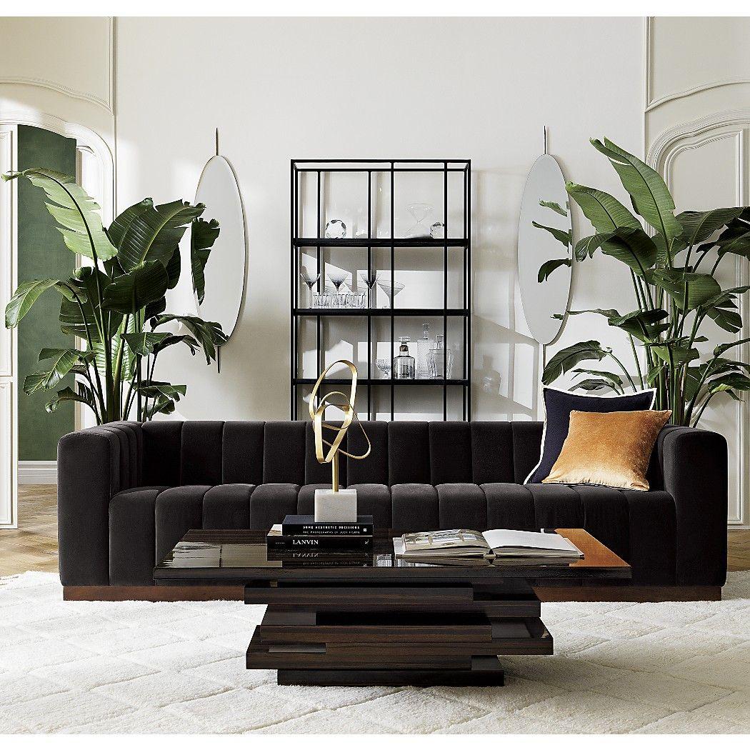 Forte Channeled Charcoal Velvet Extra Large Sofa | Velvet ...