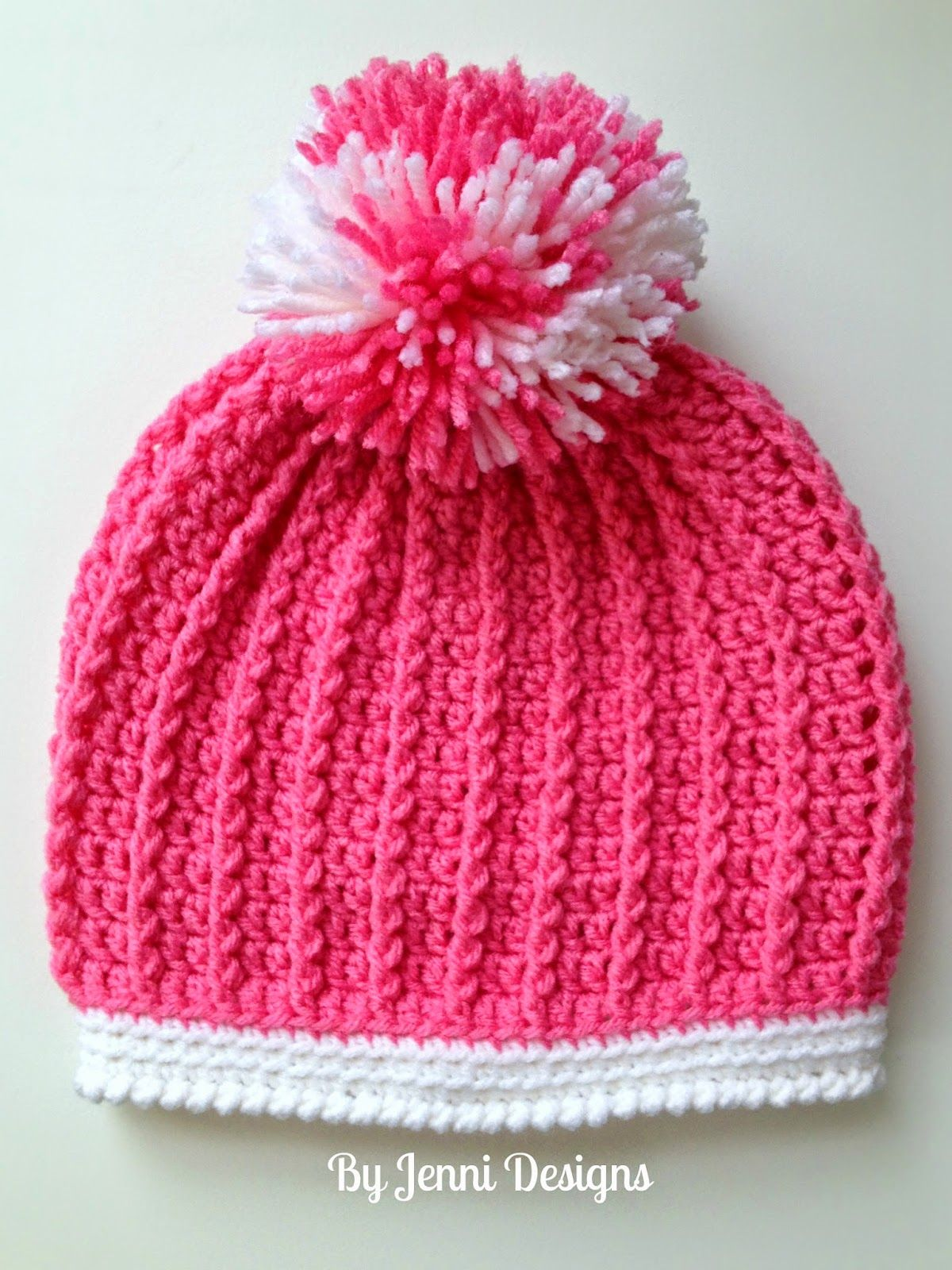 By Jenni Designs: Free Crochet Pattern: Ribbed Pre-School Size Hat ...