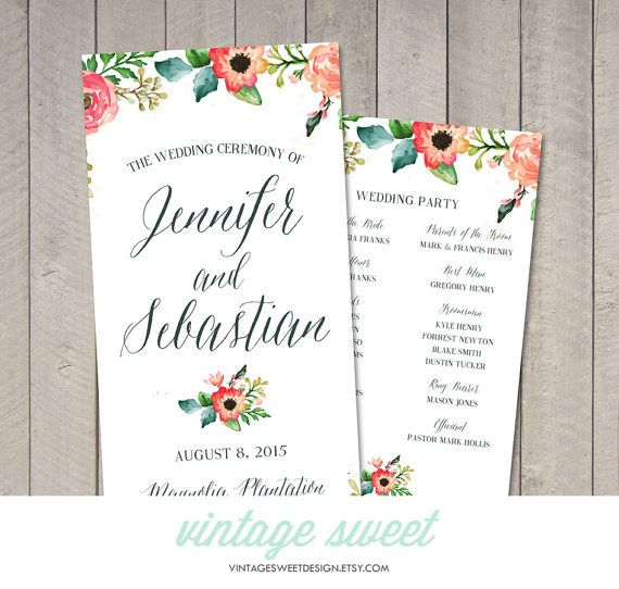 watercolor wedding program printable by vintage sweet ウェルカム