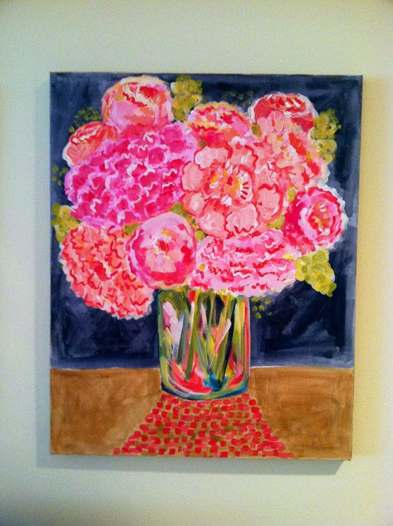 Peonies of Peace Flower Painting 16 x 20 Original by EvelynHenson, $85.00