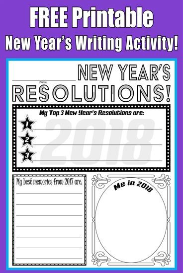 FREE Printable 2018 New Year\'s Resolution Activity! | Worksheets ...