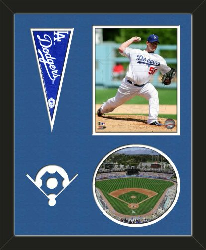 Two framed 8 x 10 inch Los Angeles Dodgers photos of Dodger Stadium (including one VERTICAL photo at the top and one HORIZONTAL photo framed in an oval) with a Los Angeles Dodgers mini pennant, double matted in team colors to 16 x 20 inches.  Includes a baseball diamond which is cut into the top mat and shows the bottom mat color.  The oval photo will be cropped to fit.  (Pennant design subject to change)  $89.99 @ ArtandMore.com