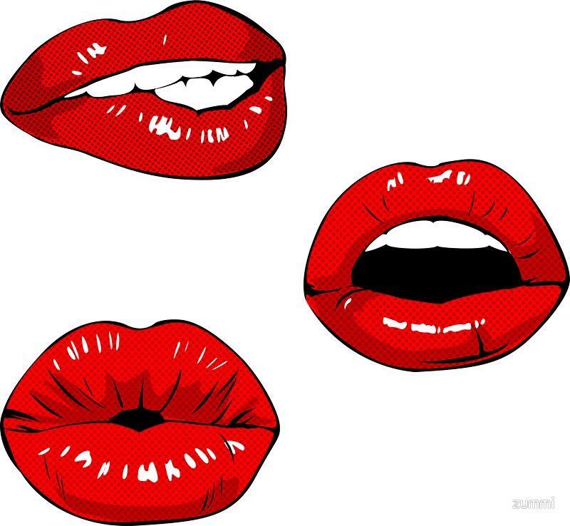 Lips Stickers 3 Pack Sticker Pack Sticker Pop Art Lips Pop