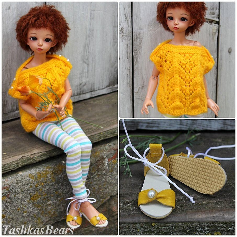 """Minifee Outfit """"Yellow & Stripes"""" with shoes, for dolls format MSD / Minifee set of clothes / Minifee clothes / MSD set of clothes by TashkasBears on Etsy"""