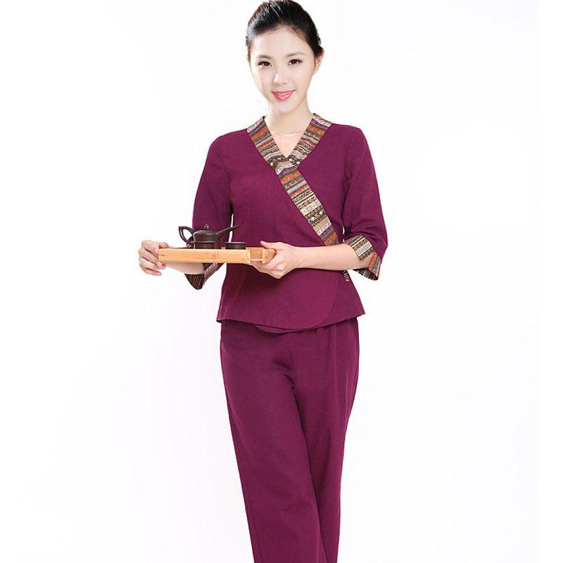 10sets free ship beauty work wear set work wear thai for Uniform thai spa