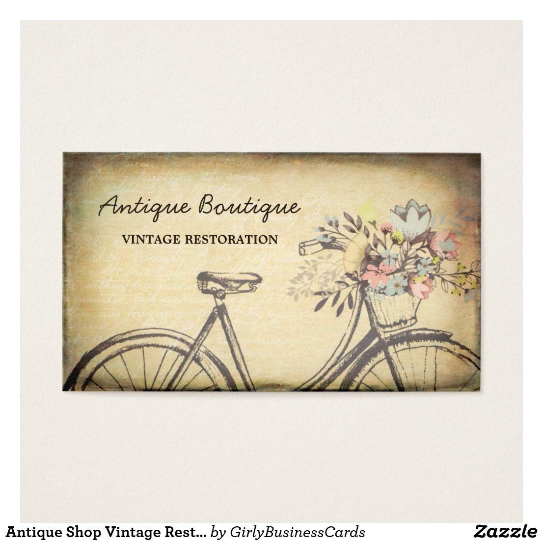 Antique Shop Vintage Restoration Floral Bicycle Business Card ...