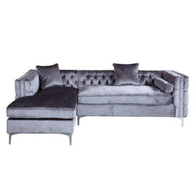Rosdorf Park Marlon Sectional Upholstery Gray Orientation Left