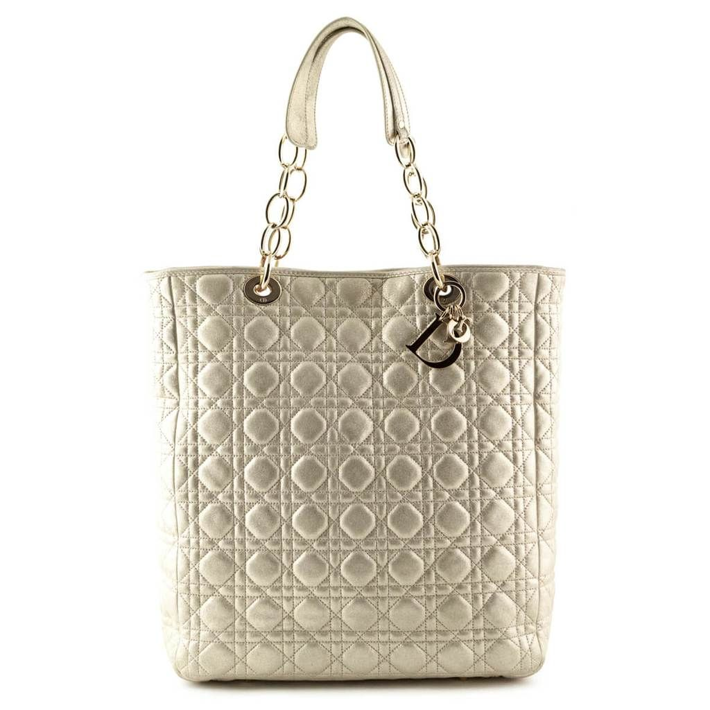 672d7339ea20 Dior Champagne Cannage Soft Shopping Tote - LOVE that BAG - Preowned  Authentic Designer Handbags