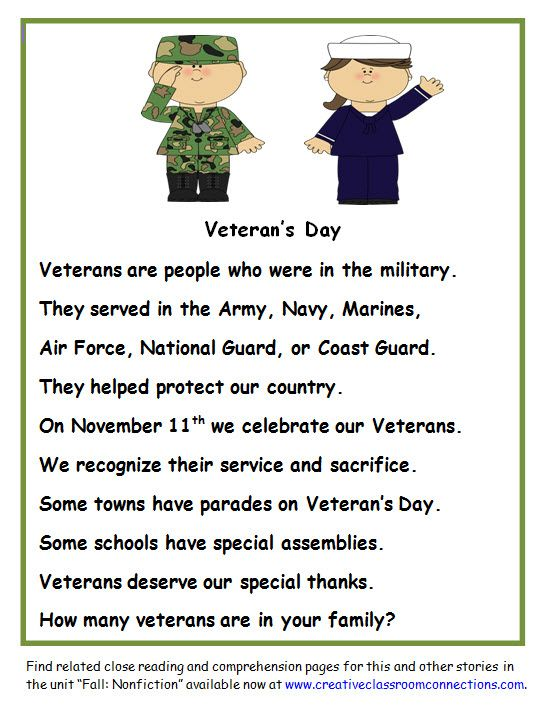 A Veteran\'s Day nonfiction story to use with other close reading and ...