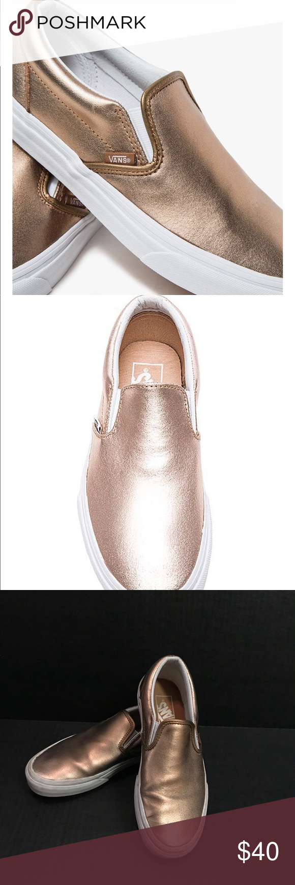 9dbb40b44387 Rose gold vans Beautiful metallic rose gold vans slip on shoe. Barely worn.  I m sad because I bought them one size too small and they re so pretty!!