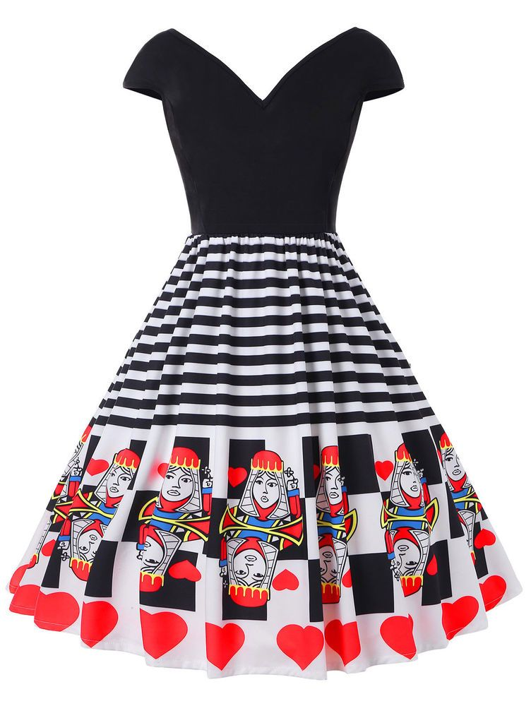 ad83959fc98f Women Playing Cards Print 50s Rockabilly Swing Dress Flared Vintage Pin Up  Party #Unbranded #ALineDress #Cocktail