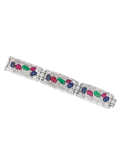 Platinum, Carved Colored Stone and Diamond Bracelet, Marcus & Co. | Lot | Sotheby's