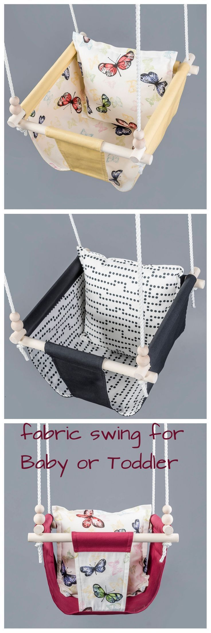 Personalized fabric swing for baby and toddler girl sweet idea to