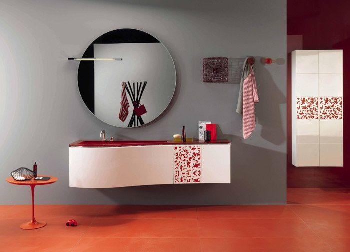 Arredo Bagno Rosso su Pinterest  Decorare Contorno Vasca Da Bagno e Arredamento Del Bagno Grigio