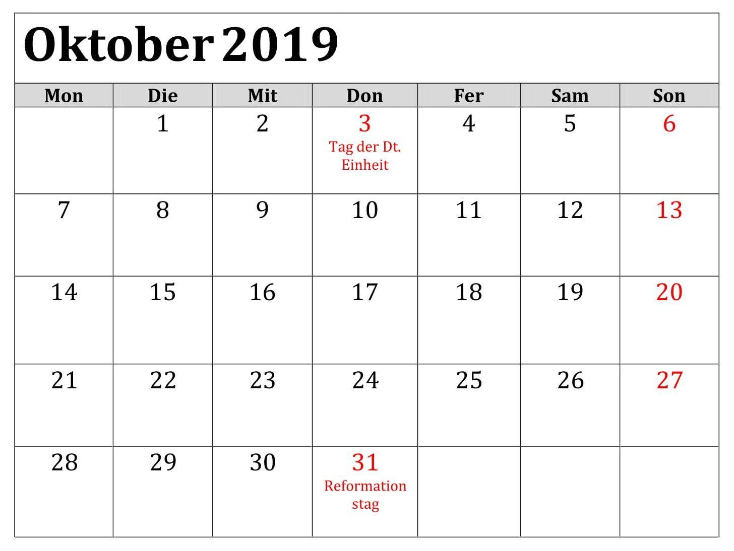 Kalender 2019 Frei Oktober Mit Feiertagen Periodic Table