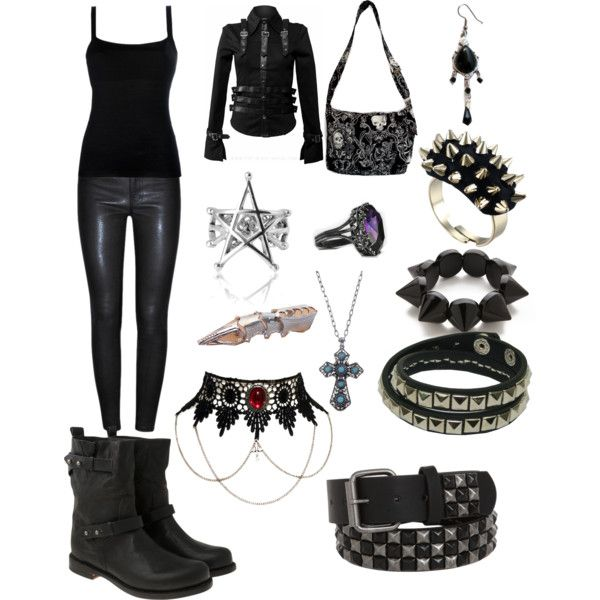 Gothic Outfit, love everything except that pentagram. Polyvore