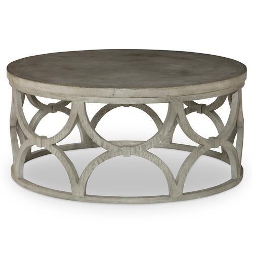 Mara Modern Slate Oak Round Outdoor Coffee Table