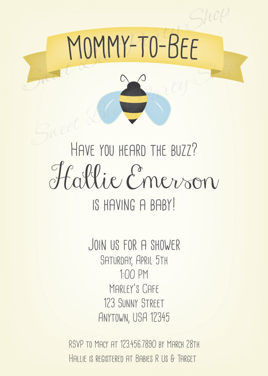 Mommy to Bee Baby Shower Invitation - Printable File - Bumble Bee ...