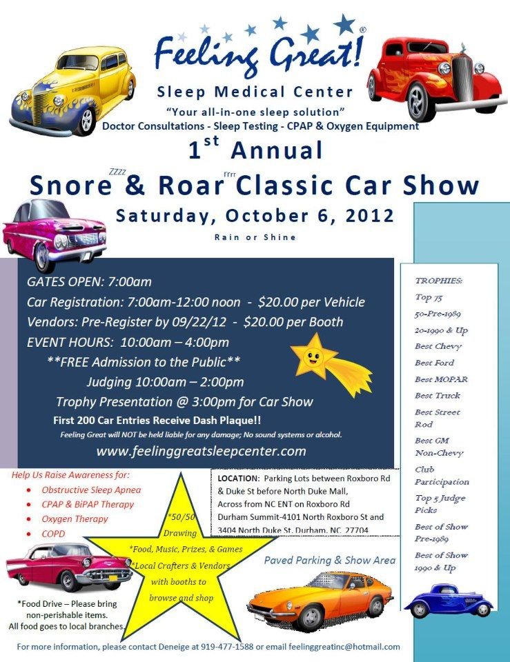 What fun it was! RemZzzs Dreams With Hope Tour was invited to the 1st Annual Snore & Roar Classic Car Show put on by the Feeling Great Sleep Medical Center in Durham, NC