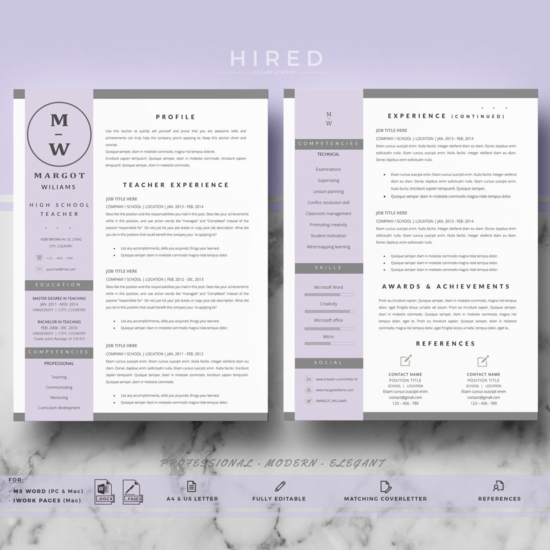 Teacher Resume Template Cv Template For Pages Ms Word Etsy Teacher Resume Template Teacher Resume Educator Resume Template