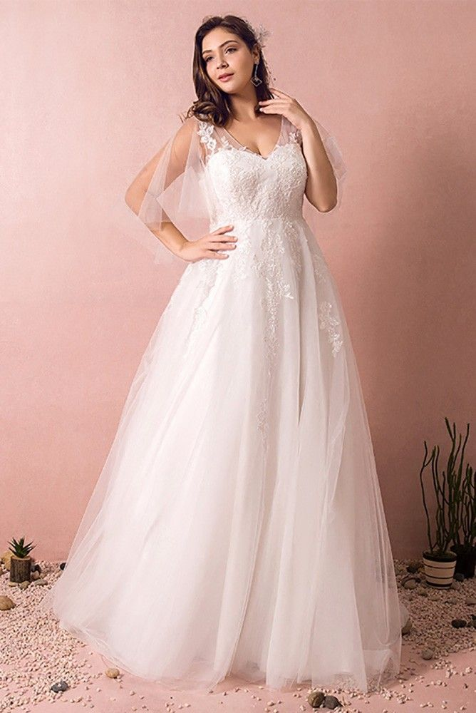 Plus Size Tulle Beach Wedding Dress Boho With Sleeves 2018 Mn8023