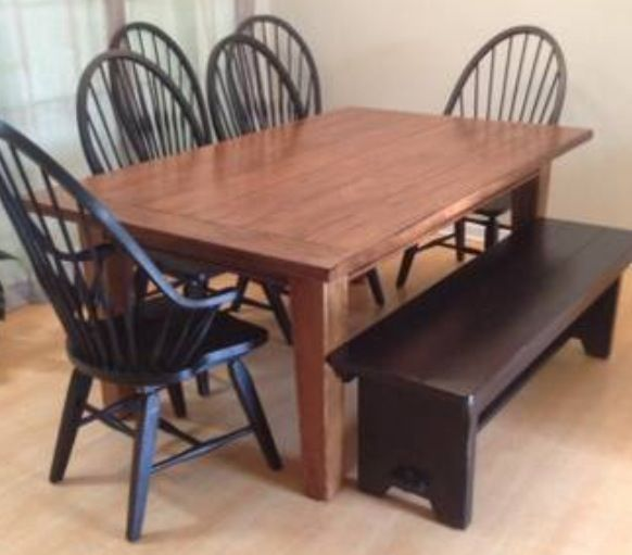 Broyhill Attic Heirloom Dining Table Windsor Chairs With Bench