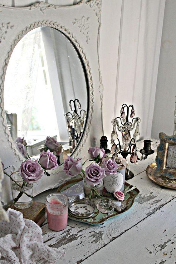Spiegel Dekorieren Im Shabby Chic Schlafzimmer