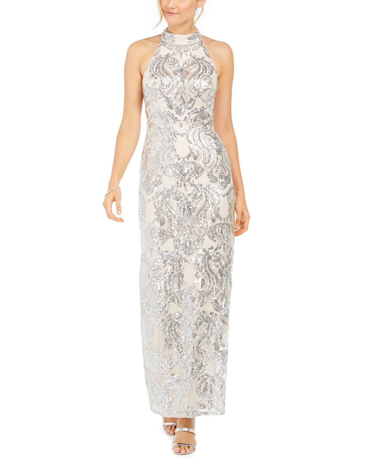 Vince Camuto Sequined Halter Gown Reviews Dresses Women Macy S In 2020 Floral Print Gowns Halter Gown Review Dresses [ 1466 x 1200 Pixel ]